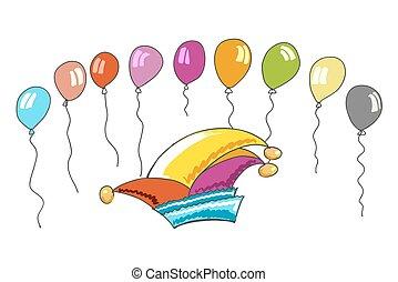chapeau, coloré, carnaval, ballons