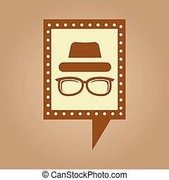 chapeau, concept, hipster, retro, lunettes