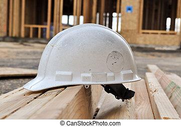 chapeau, construction, dur, site