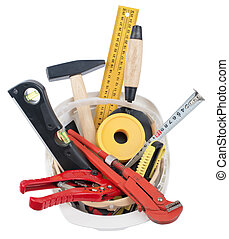 chapeau, construction, inclure, ouvrier, fournitures, dur