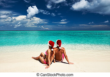 chapeau, couple, maldives, plage, santa