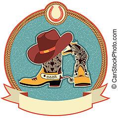 chapeau cowboy, bottes, étiquette