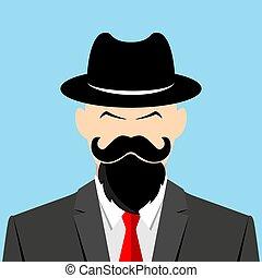 chapeau cowboy, sérieux, homme