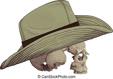 chapeau, crâne, cow-boy