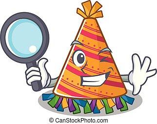 chapeau, détective, fête, dessin animé