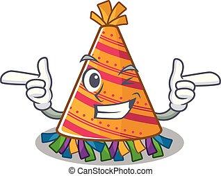 chapeau, dessin animé, fête, clignement