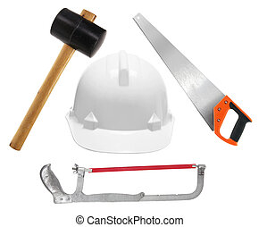 chapeau, dur, outils