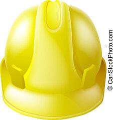 chapeau, dur, sécurité, jaune, casque