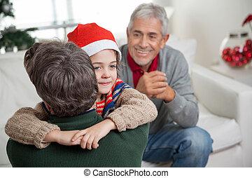 chapeau, embrasser, père, santa, fils