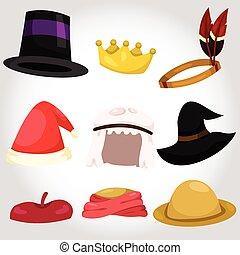 chapeau, ensemble, illustrateur, tasse