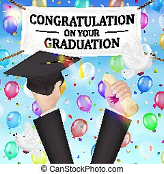 chapeau, félicitations, diplôme, bannière, remise de diplomes