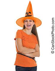 chapeau, femme, halloween, jeune, heureux