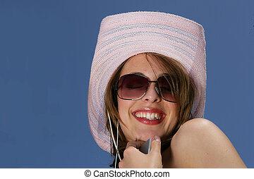 chapeau, femme, jour ensoleillé, heureux