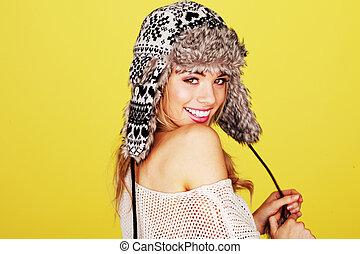 chapeau, femme, laineux, hiver, vivacious