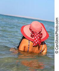 chapeau, femme, plage