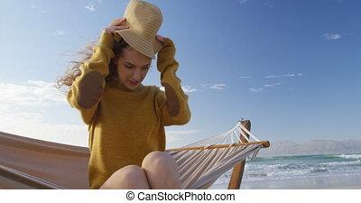 chapeau, femme, plage, porter, 4k