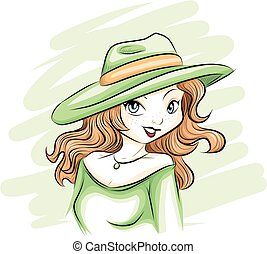 chapeau, femme, vert