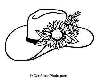 chapeau, flowers., tournesols, vecteur, blanc, cow-boy, isolé, occidental