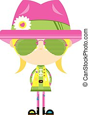 chapeau, girl, nuances, hippie, dessin animé