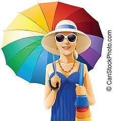 chapeau, girl, parapluie