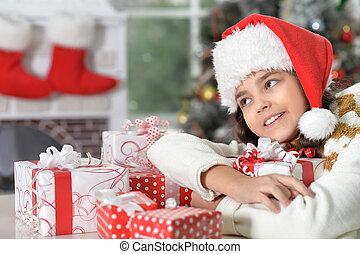 chapeau, girl, portrait, santa, heureux, dons