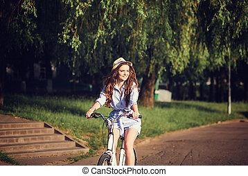 chapeau, girl, promenades, vélo
