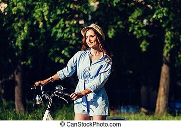 chapeau, girl, vélo