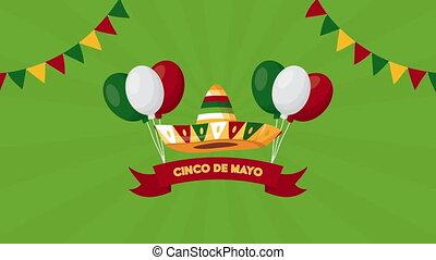 chapeau, hélium, cinco, ballons célébration, de, mexicain, mayonnaise