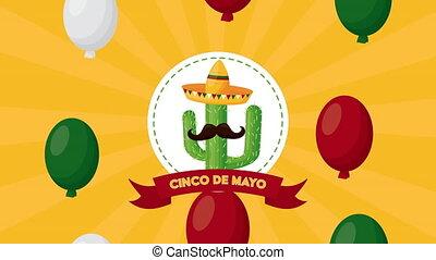 chapeau, hélium, cinco, cactus, ballons célébration, de, mexicain, utilisation, mayonnaise