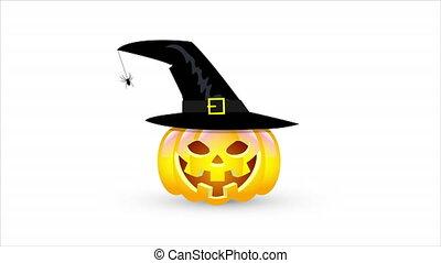 chapeau, halloween, citrouille