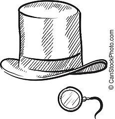 chapeau haut de forme, monocle, croquis