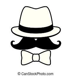 chapeau, hipster, lunettes soleil, moustache