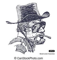 chapeau, homme, lunettes soleil, barbe