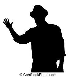 chapeau, homme, sien, salutation, main, onduler