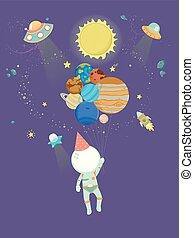 chapeau, illustration, astronaute, fête, ballons, gosse