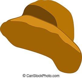chapeau, jaune, illustration, blanc, vecteur, arrière-plan.
