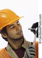 chapeau, latino, ouvrier, asiatique, dur