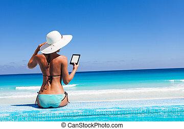 chapeau, lit, allumer, plage blanche, girl