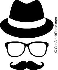 chapeau, lunettes, homme, portrait, retro