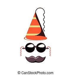 chapeau, lunettes soleil, moustache, carnaval, accessoire