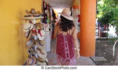 chapeau, mexique, coloré, femme, plage, magasin, vidéo, robe, danse