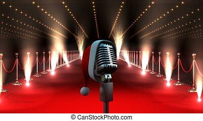 chapeau, microphone, moquette, lumières rouges, clignotant, santa