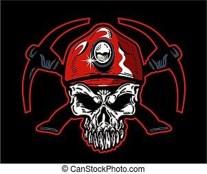 chapeau, mineur, charbon, crâne, rouges