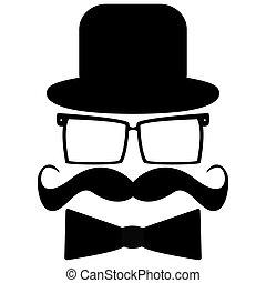 chapeau, moustache, lunettes soleil