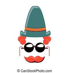 chapeau, moustache, lunettes soleil, clown, carnaval