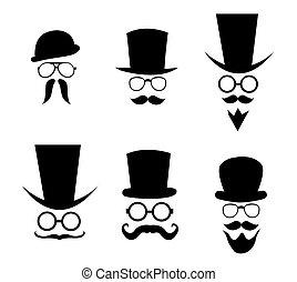 chapeau, moustache, lunettes