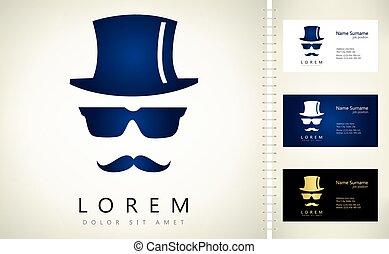 chapeau, moustaches, invisible, homme, lunettes