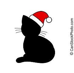 chapeau, noir, santa, chat