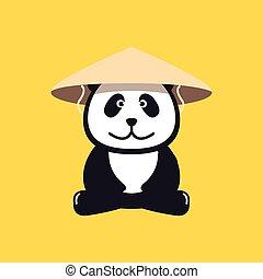 chapeau paille, conique, panda, chinois