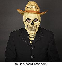 chapeau paille, squelette